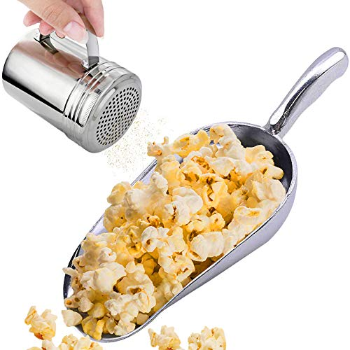 CUSINIUM Aluminium Popcorn Scoop w/Popcorn Salt Shaker with Handle Bundle