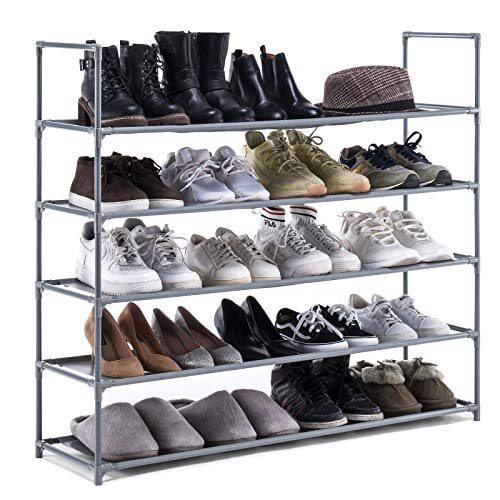YOUDENOVA 5 Tiers Shoe Rack Stable and Durable Non-Woven Fabric Shoe Storage...