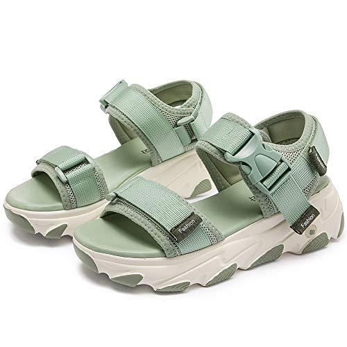 Women's Open-Toe Schoen, Mode Sport Sandalen Outdoor Sports Non-Slip Dikke Zolen Beach Schoenen,Green,36EU