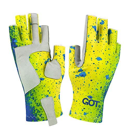 GOT Sports UPF 50+ Fishing Fingerless Gloves for Men and Women - Sun UV Protection Gloves - Perfects for Fly Fishing, Sailing, Canoeing, Paddling, Kayak, Hiking, Work (Mahi L/XL)
