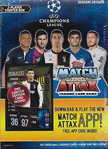 Match Attax 2019 2020 Topps UEFAチャンピオンズリーグサッカー トレーディングカードゲーム シール2人用スターターボックス 38枚のカードとゲームマット付き クリスティアーノ・ロナウド限定版ゴールドカード