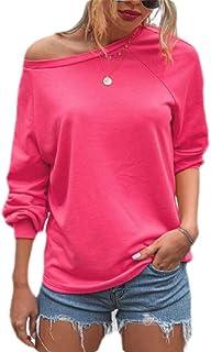 Loyomobak Women's Tee Solid Long Sleeve Crew Neck Tops Blouse T Shirts