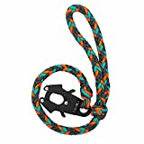 Heavy Duty Paracord Braided Dog Leash with LIIIIIIKES Frog Clip,2 FT Training Leash for Dogs (Gray,Orange,Turquoise Blue, 2FT)