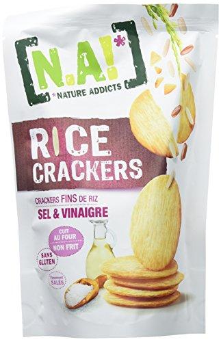 N.A! Nature Addicts - Rice Crackers Sel et Vinaigre - Crackers Fins de Riz, Légers et Craquants - 65% de Matières Grasses en Moins que les Biscuits et Chips Apéritifs du Marché - Sachet de 70 gr