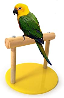 Balacoo Parrot Perches Bird Stand Natural Wood Stand Portable Training Parrot stand for Small Medium Birds