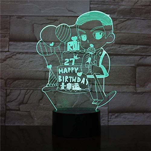 Lumière Ambiante, Méprisez Joyeux anniversaire Singe cerise Boule Belle fille 7 Changement de couleur LED tactile commutateur Monkey bureau Lumière d'ambiance (Color : Happy Birthday)