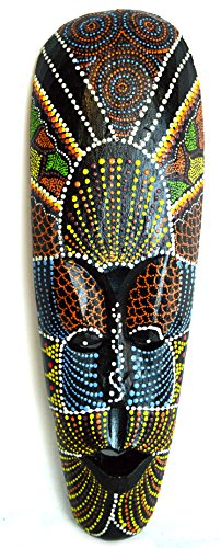 African Hand Carved Aboriginal DOT Art Wooden Tribal MASK Wall Decor