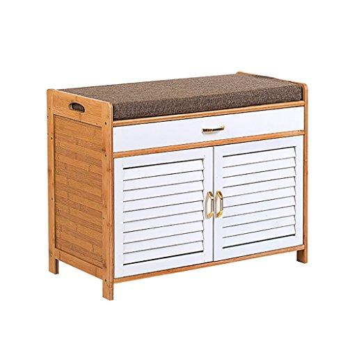 Yxsd Zapatero de almacenamiento de madera maciza, taburete de almacenamiento multifunción, taburete de moda simple para el extremo de la cama