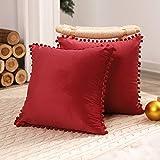 Deconovo Fundas de Almohadas Cojines Terciopelo Decorativas Hogar con Pelota para Sofás Dormitorio Pack de 2 50 x 50 cm Rojo