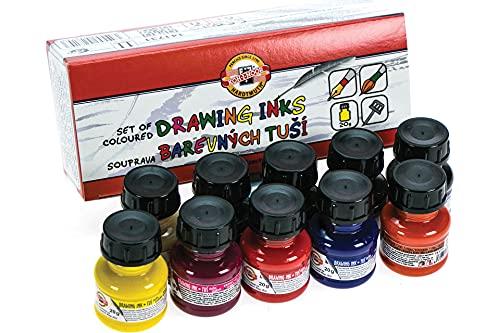 Koh-I-Noor - Set di inchiostri colorati da disegno, 10pezzi da 20 g ciascuno