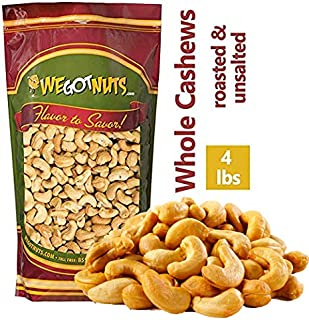Roasted Unsalted Cashews ~ 4 Lb. - We Got Nuts