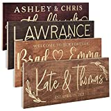 Personalized Wedding Sign, Custom Wood Sign W/Names & Dates, 17,5'' X 6'' - 9 Designs W/ 5 Wood Colors, Wedding Plaque for Ceremony, Bridal Shower, Family Established Name Sign, Wooden Engraved Sign