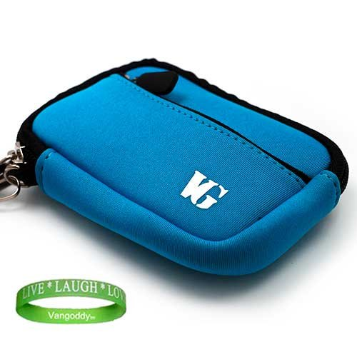 Sky Blue camera case with Unique Full access Zipper Opening for your Canon Digital Camera: Powershot A1200 A2200 A2300 A2400 IS A3300 A3400 A4000 S95 S100 ELPH 110 HS ELPH 100 HS ELPH 510 520 530 HS ELPH 300 310 320 HS + Green Vangoddy Bracelet!!!
