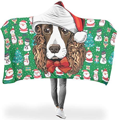 O5KFD & 8 Draagbare deken, twee maten, hooded blanket Christmas Animal Happy, bedrukt deken met capuchon, lichtgewicht, zachte deken, capuchon, voor lunchpauze