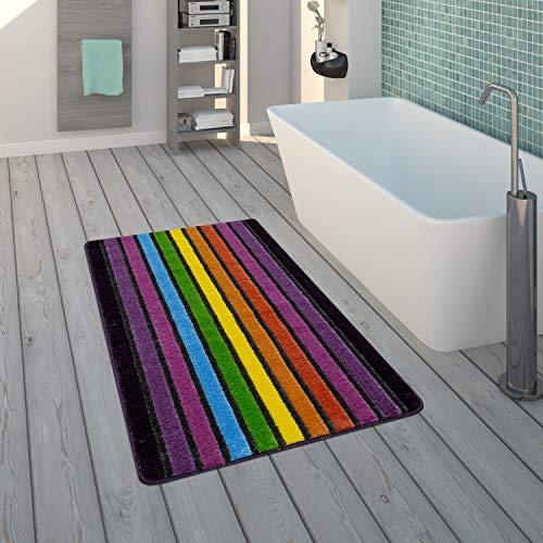 Paco Home Badematte, Kurzflor-Teppich Für Badezimmer Mit Streifen-Muster, 3-D-Effekt In Bunt, Grösse:80x150 cm