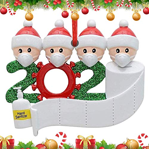 2020 Personalized Christmas Ornament Kit, Christmas Tree Ornaments Creative Gift for Family&Party,Customized Family Name Christmas Tree Decorating Set Creative Friends Gift (4people)