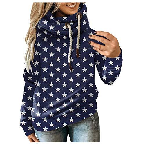 YANFANG Sudadera con Capucha de Mujeres, Otoño Invierno Casual Sport Star Leopard Prints Pullover,Baratas Jersey Casual Camiseta Otoño Invierno Sudaderas Blusa Tops Pullover,Navy,3XL