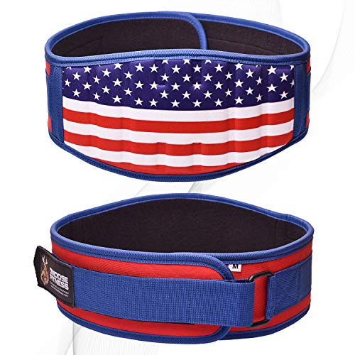 DMoose Fitness Neoprene Weightlifting Belt (Single) Back Cushion Foam Support, Nylon Strap, Reinforced Stitching, Heavy-Duty Steel Ring Helps Maximize Your Weightlifting (Medium, Old Glory)