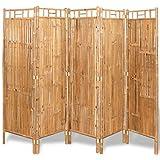FAMIROSA Biombo Divisor 5 Paneles bambú 200x160 cm Marrón