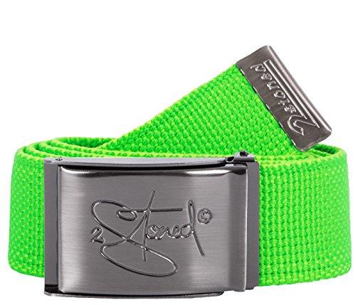2Stoned Stoff-Gürtel 4cm Neon Grün mit matter Schnalle für Damen und Herren