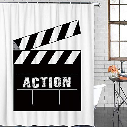 XZLWW Film- und Fernsehproduktion und die Worte Action Duschvorhang aus Polyestergewebe 120x180CM A
