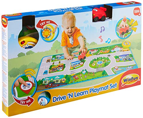 WinFun 001288-NL speelkleed rijden en leren, interactief tapijt met auto, muziekdeken met 25 liedjes, geluiden, veelkleurig