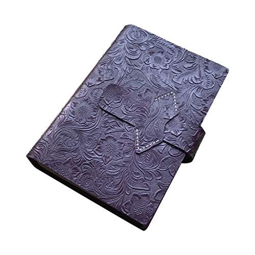 WRU Carnet De Notes, Journal De Voyage En Cuir De Vachette Vintage A5 Journal En Relief Fleur Bloc-Notes