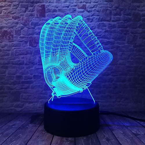 Neuheit nachtlicht 7 farbwechsel led lampe stimmung 3d baseball handschuh schlafzimmer dekor beleuchtung kind kinder spielzeug geschenke mit fernbedienung kind geschenk