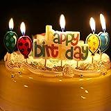 Longsing Vela De Cumpleaños Lindo Colorido Creativas Sin Humo Feliz Cumpleaños Alfabeto Velas Y Globos Velas Kit para Decoración De La Torta