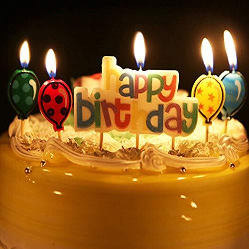 Longsing Candele Compleanno CandeleColorate di Buon Compleanno Alfabeto Candele E Palloncini Kit per Decorazioni per Torte Cupcake Toppers