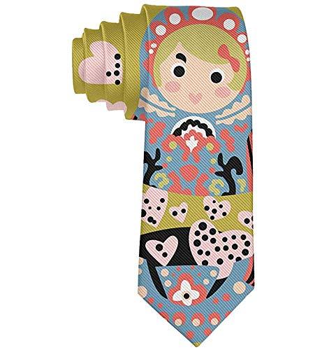 Niedlicher Cartoon der russischen Puppe mit Herz-Krawatte - Männer-Valentinstag-Krawatte