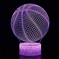 3Dナイトライトキッズナイトライトバスケットボール7色点滅装飾キッズギフト最高のギフトおもちゃUsbチャージャー搭載