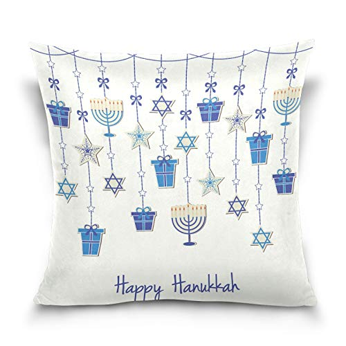 Glaphy Hanukkah Decorative Throw Pillow Cover Soft Pillowcase Polyester Home Decor Couch Cushion Cover 16x16 Inch
