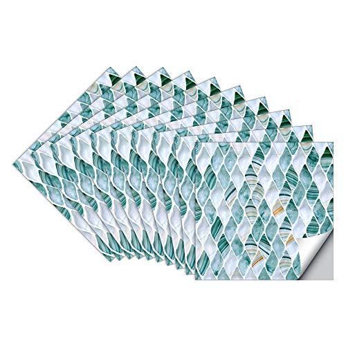 Pegatinas de Baldosas pared Cocina e Baño Azulejos Adhesivos Jade Gota de Agua Vinilos Pegatinas de decorativo de Muebles 10 Piezas 15x15cm, Bleu Gris