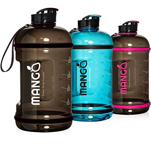 Mango 2.2 Litre Water Bottle With Motivational Time Markings - BPA Free Durable Sports Bottles With Flip Cap - Ideal For Gym Outdoors - Men & Women