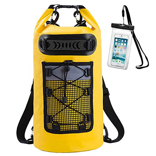 Dry Bag Waterproof 10L Yellow Sack Backpack with IPX8 Waterproof Phone Case and...