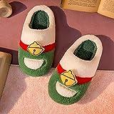 QAZW Zapatillas Mujer Hombre Espuma Viscoelástica Otoño Invierno Cálidos Zapatos de Casa Difusos Estilo de Pareja Zapatos de Felpa para Dormitorio Zapatos Mullidos de Interior,Green-7/8