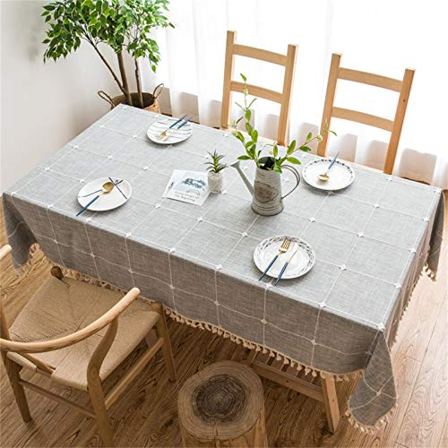 Vonabem Table Cloth Tassel Cotton Linen Table Cover for Kitchen Dinning Wrinkle Free Table Cloths Rectangle/Oblong (58''x70'', 4-6 Seats, Grey)