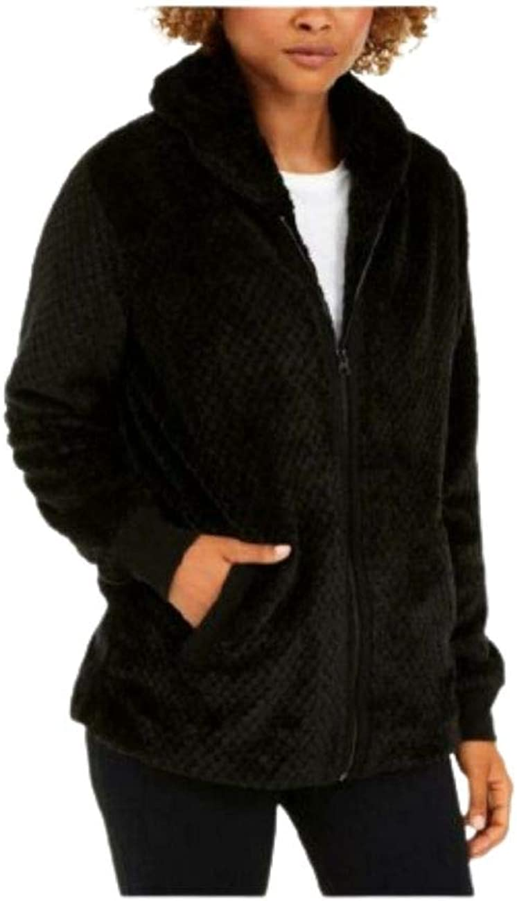 Ideology Womens Quilted Fleece Faux Fur Jacket