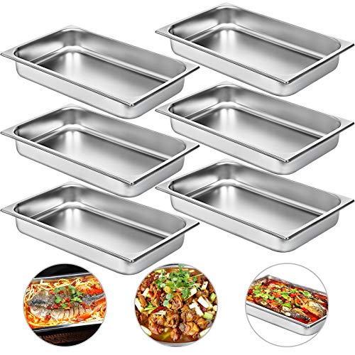 Mophorn Set of 6 Hotel Pan 6 Inch Steam Table Pan Full Size 20x12x6 Inch Stainless Steel Anti Jam Steam Table Pan