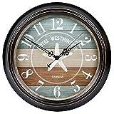 AMYZ Reloj de Pared Decorativo de 20 Pulgadas,silencioso,Funciona con Pilas,Vintage,rústico,marrón para decoración de Sala de Estar,Cocina,Comedor,Dormitorio,baño u Oficina,Gran Estilo Retro Mode