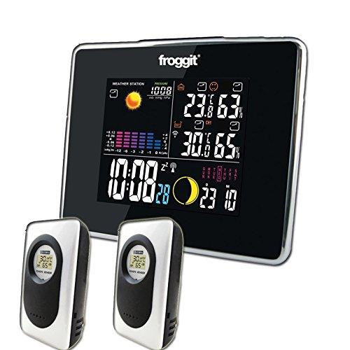 froggit Funk Farb Wetterstation WS50 inkl. 2 Funk Thermo-Hygrometer Außensensor, Wettervorhersage, Funkuhr, Temperatur, Luftfeuchte