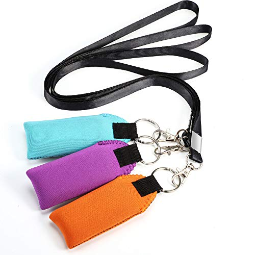 Floating Neoprene Boat Keychain, 3 Pack Key Chain and Lanyard, Floatable Foam Key Fob for Water Sports (Turquoise, Purple, Orange, Black)