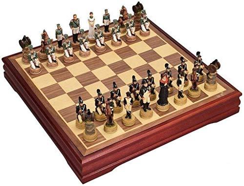 GLXLSBZ Juego de ajedrez para Adultos Juego de ajedrez de Madera Juego de ajedrez Internacional Piezas Sete Chessmen Collection Tablero Juegos de Viaje Juguetes Juegos de ajedrez de Regalo