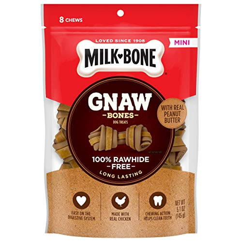 Price comparison product image Milk-Bone Gnaw Bones Rawhide Free Chew Treats for Dogs,  Peanut Butter & Chicken,  32 Mini Knotted Bones