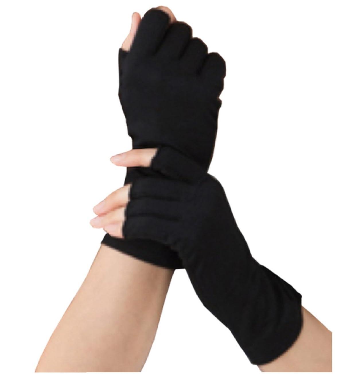 スキームミント足Silk 100% シルク 手袋 指先カット タイプ 薄手 オールシーズンOK 外出時の 紫外線 UV 対策 スマホ PC 操作 や ICカード 取り出しもらくらく! 手首 ゆったり おやすみ フィンガーレス スキンケア ハンドケア グローブ (ブラック)