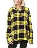 Cheap Monday Data Shirt Tartan Camisa, Amarillo (Amarillo Brillante Brillante), 34 para Mujer