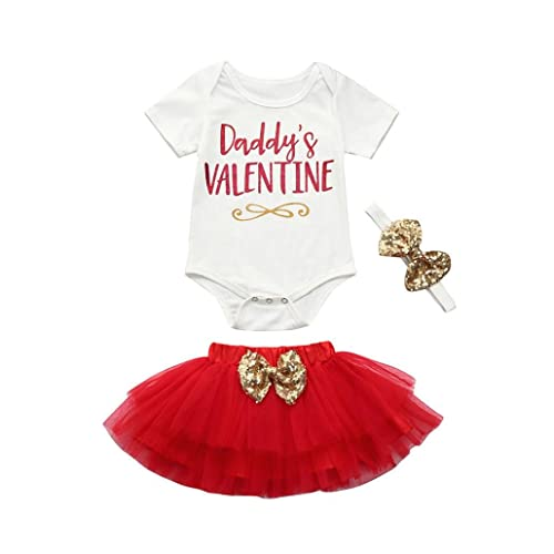 e52937695cf8 Odeer Daddy's Valentine - Newborn Infant Baby Girl Valentine's Day Outfits  Set Romper Tops+Skirt