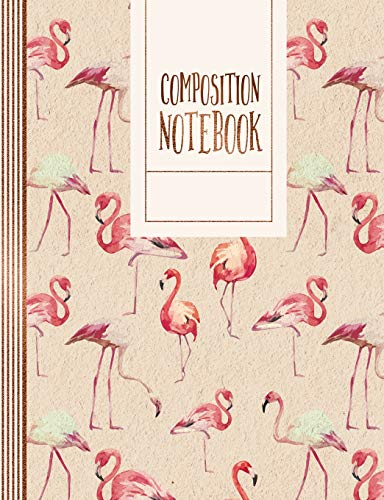 Composition Notebook: Blank Calligraphy Hand Lettering Worksheets Paper Book - Large Writing Sheet Exercise Practice Workbook - Brush Handlettering ... - Blush Rose Gold Peach Flamingo Pattern