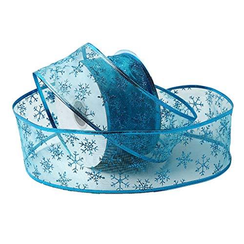 haia7k4k Cinta de copos de nieve brillante para árbol de Navidad, 50 yardas